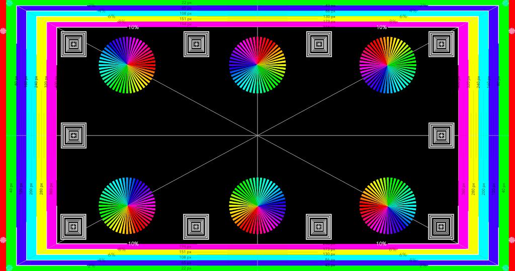 Colori su uno sfondo nero che controlla anche i lati in modo colorato.