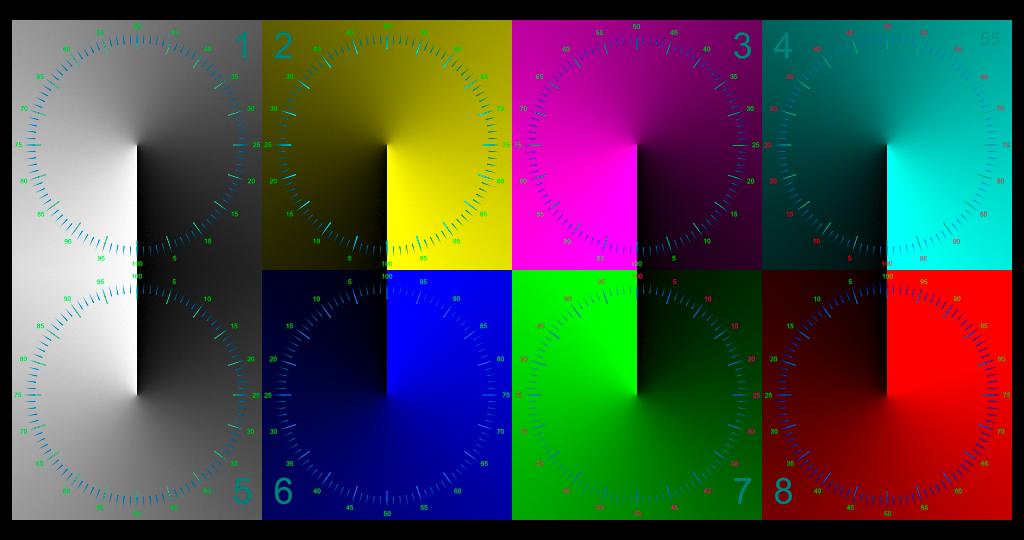 Quadrati bianchi e colorati con gradiente e scala radiali