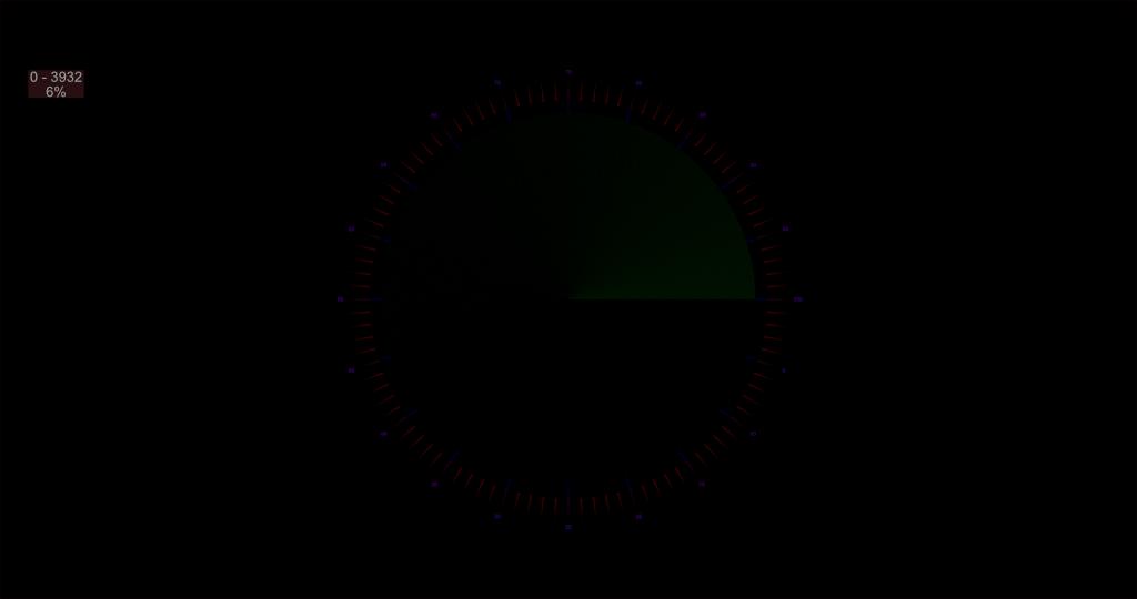 Quadrante verde con segni di tic nel 709