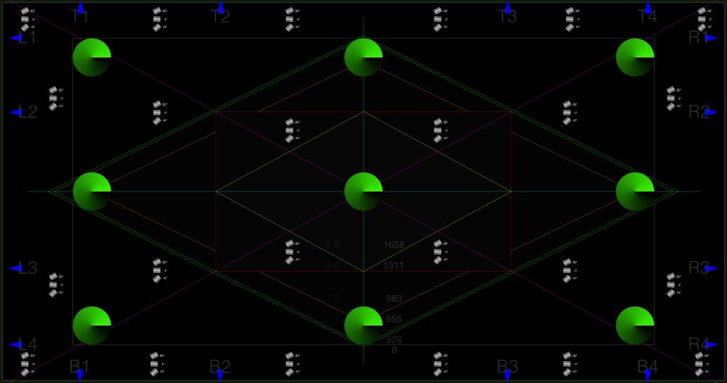 Sfondo nero con linee taglienti e coni verdi
