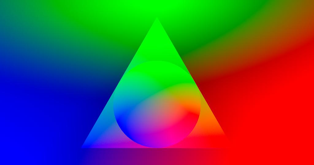 Un cerchio realizzato in un triangolo in un rettangolo con 3 colori primari tutt'intorno